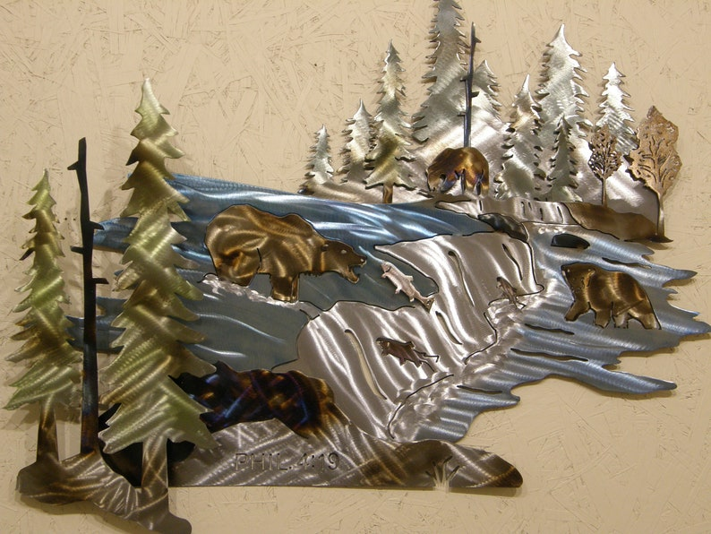 Metal Wall Sculpture of Grizzly Bears Fishing image 0