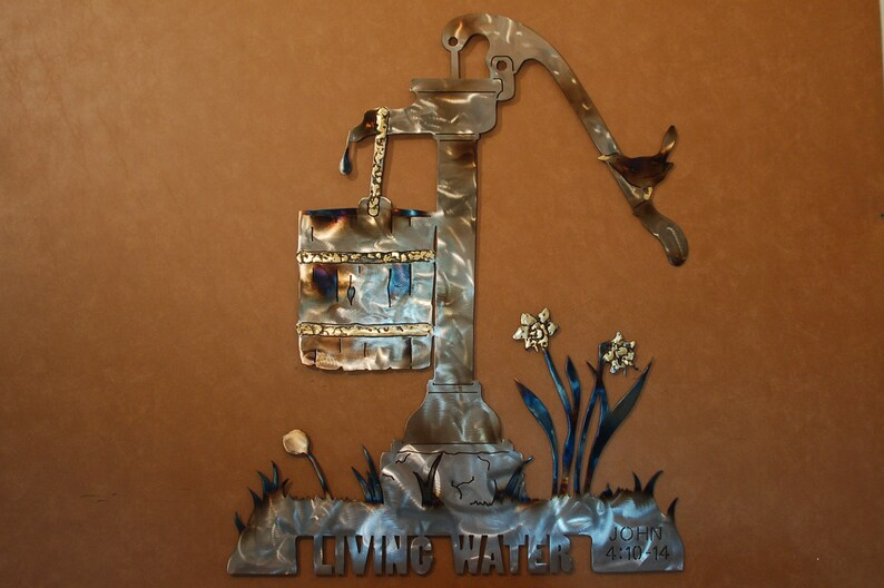 Antique water pump metal wall art sculpture image 0