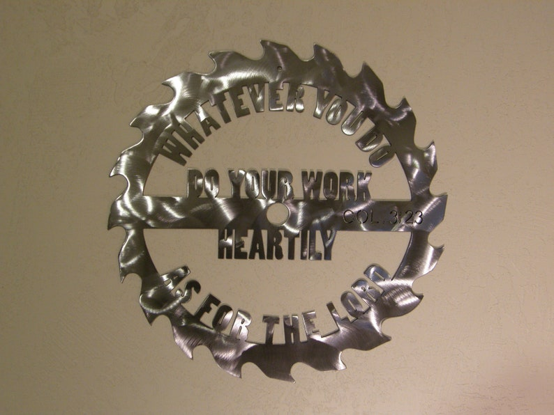 Saw blade metal wall sculpture with Scripture image 0