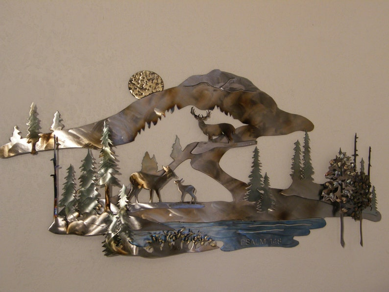 Custom Designed Metal Wall Sculpture of Deer in Mountain image 0