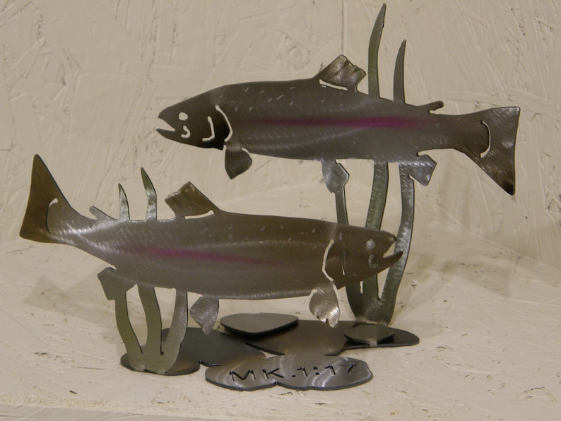3-D Metal Sculpture of Trout with Scripture image 0