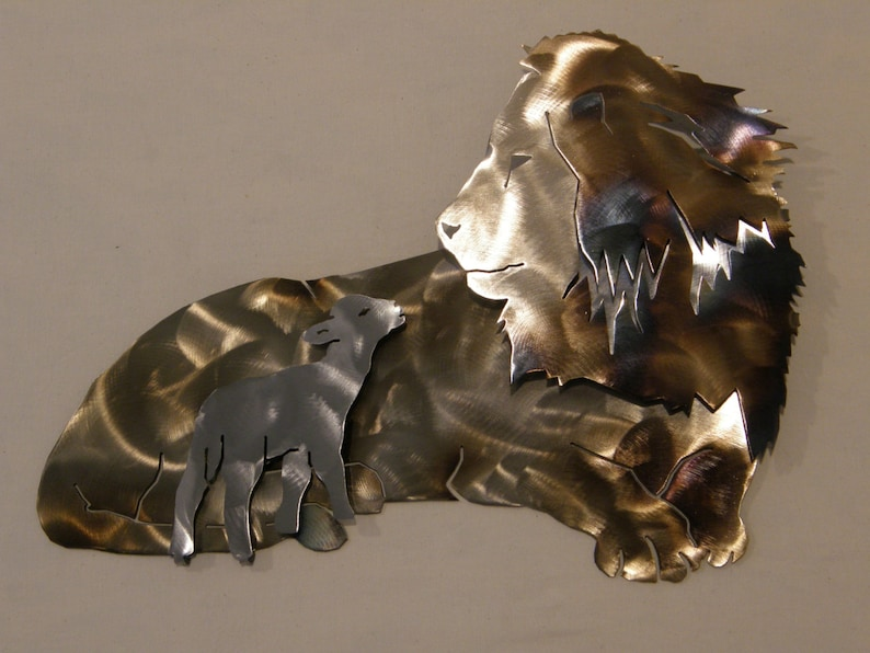 Metal Wall Sculpture of Lion and Lamb image 0