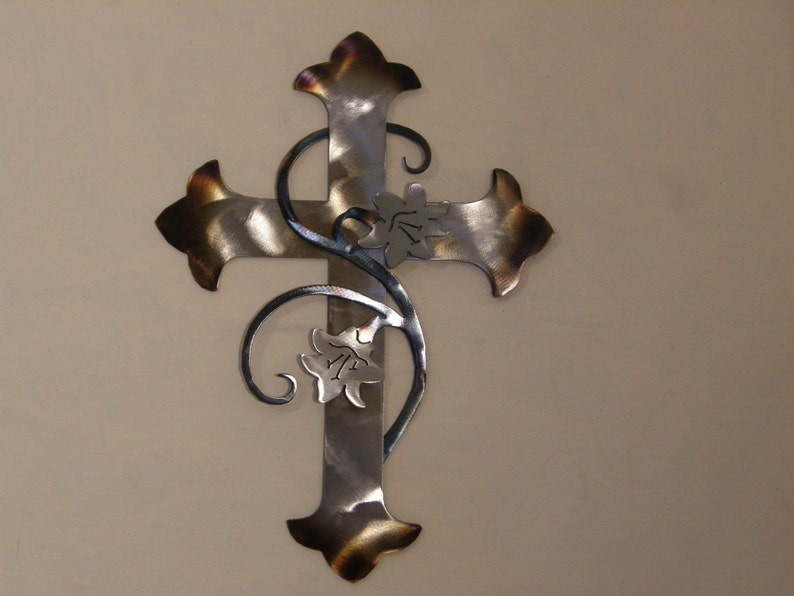 Metal wall cross with lilies image 0