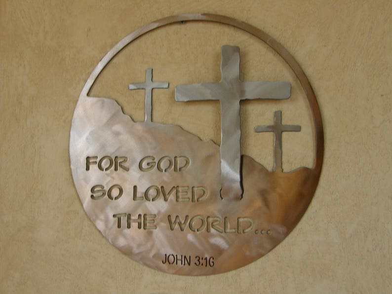 Christian Metal Wall Sculpture of John 3:16 image 0