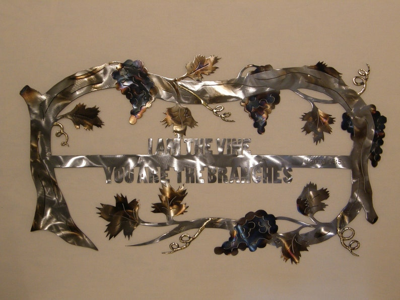 Christian grape vine metal wall art sculpture image 0