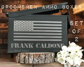 Set of 2 Ammunition Boxes/Ammunition Crate/Groomsman Gifts/Groomsman Gift Box/Ammo box for Groomsman/Best Man Gift Box/Custom Mens Gift