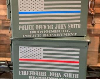Personalized Ammo box for Police and Fireman/Back the Blue/Back the Red/ammo box/military ammo can/groomsman ammo box/ammunition box/