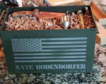 Personalized ammo box/Gift for Dad/Fathers Day Gift/ammunition box/ ammo box /unique groomsman gifts/hunter ammo box