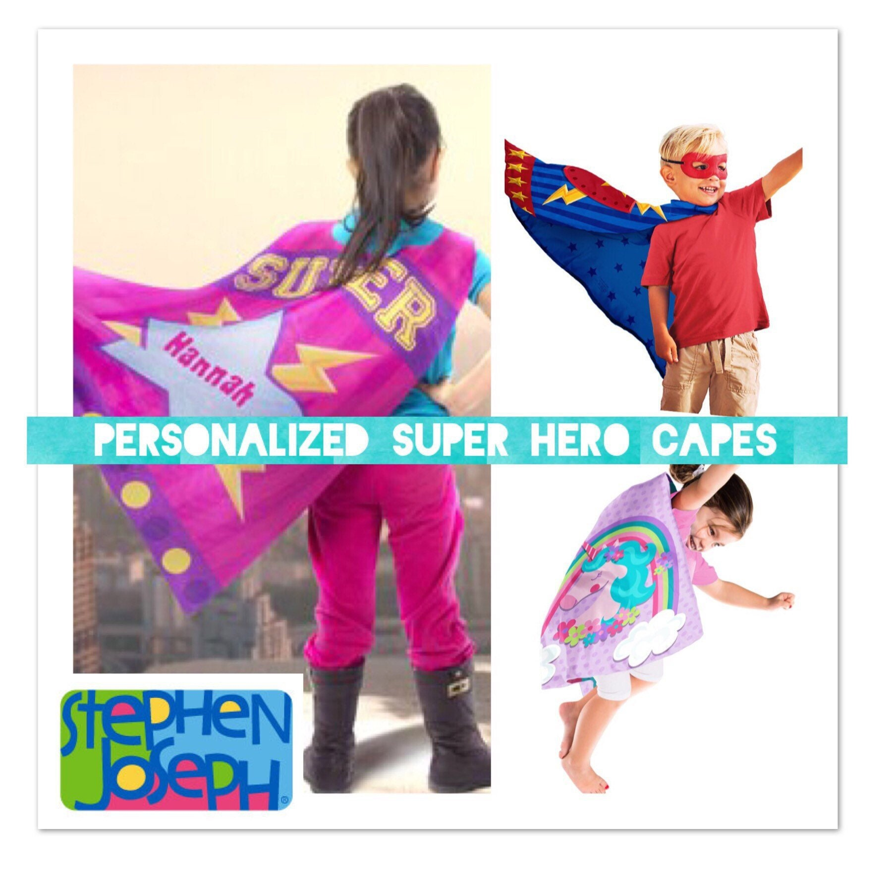 Stephen Joseph Cape/ Personalized Kids Gift/Children's Dress Up/Playtime Accessory/Birthday Party/Valentines Gift/Gift for kids