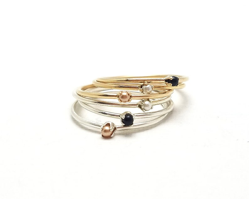 d4b697fd1 Tiny pearl ring gold ring silver ring swarovski pearl | Etsy