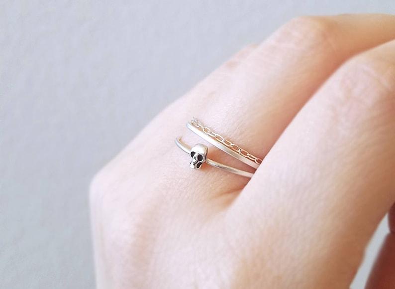 Small silver skull ring  goth skull ring  small thin minimal image 0