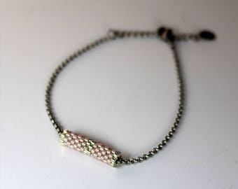 Soft Pink and Silver Tube Bracelet