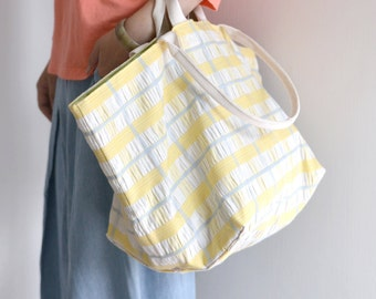 Large simple tote bag. summer beach style yellow blue check pattern market tote. style140Y. Ready to ship