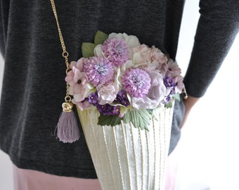 Cosette Flower Vase - purple floral shoulder bag.style147.Ready to ship