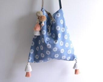 Summer Woodland tassel crossbody bag shoulder bag. Ready to ship