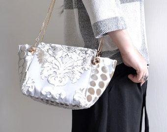 Velvet Cream White Classic shoulder bag. winter season fuzzy woman handbag. style146. Ready to ship