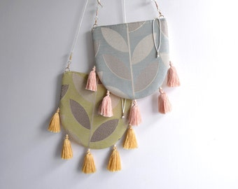 Dream Catcher leaves embroidery print summer style tassel crossbody bag shoulder bag. Ready to ship