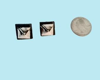 Pyramid Studded Post Back Leather Earrings // Handmade // OOAK