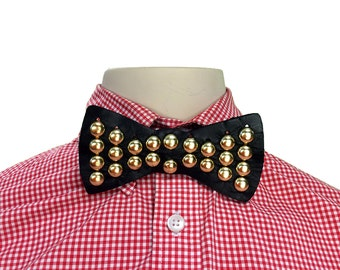Handmade Leather Snap Bow Tie with Gold Dome Studs - Adjustable / Unisex / OSFM