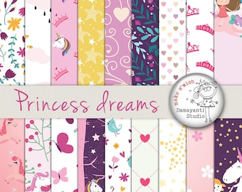 Princess dreams digital papers, craft papers, planner sticker papers, craft projects