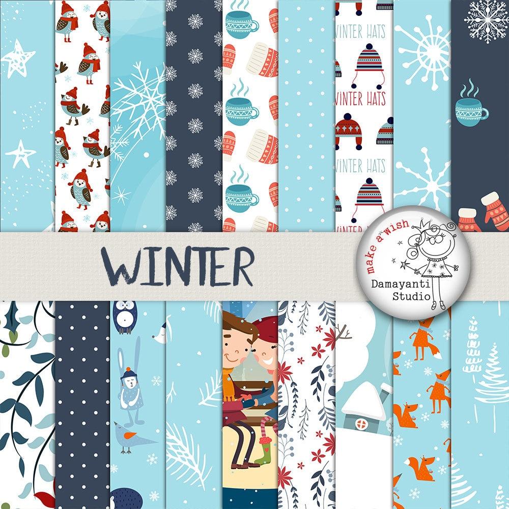 Winter digital paper Christmas paper Christmas patterns   Etsy