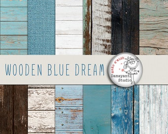 Wooden blue dream,  wood digital papers, wood background, white wood texture, rustic wood, wood scrapbook paper and burlap papers, blue wood