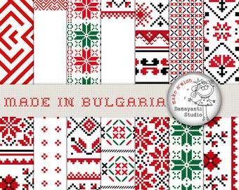 Ethno Digital Paper, Ethnic Patterns, Bulgarian Embroidery,  Chic Pattern, Folk Art,  Ethno Motifs, Boho Style, Boho Chic, Christmas pattern
