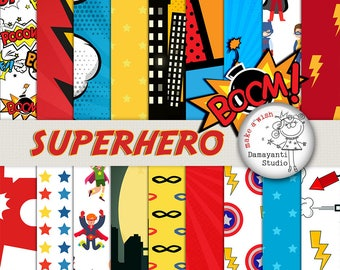 SUPERHERO SCRAPBOOK PAPER, Superhero Paper, Party Paper, Superhero Birthday, Superman Comics, Cartoons, Comic Book, Action Words, stickers