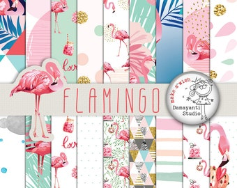 Flamigo digital paper, craft, invitation, Print