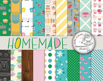 Homemade, Food papers, Kitchen papers, retro kitchen digital paper, scrapbook paper, scrapbooking, Bakery Paper, Cooking Paper