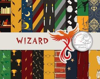 INSTANT DOWNLOAD, Wizard, Magic, Digital Scrapbook Kit, digital papers, planner sticker, craft papers