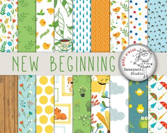 New Beginning digital papers for scrapbook and craft