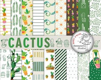 Cactus digital paper, print, planner sticker