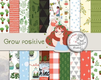 Grow positive, Planner Papers, Scrapbook Paper Pack, Digital Papers, Floral Digital Paper, Botanic Garden, Wedding, Invitatio