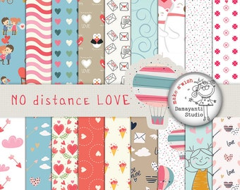 No distance LOVE, Valentines day digital papers, scrapbook printable, valentines day, planner printables, love papers