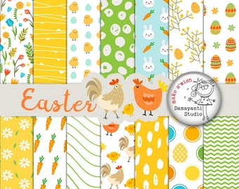 Easter Digital Paper Pack, Easter Paper Pack, Easter Bunny Paper, Easter Scrapbook, Cute Easter Paper, Patterned Papers, Planner sticker