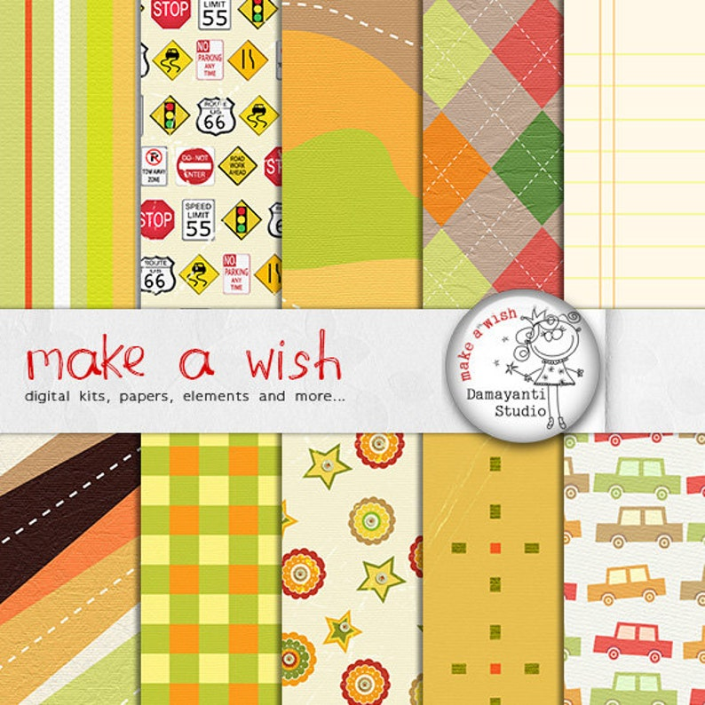 Kid's zone digital papers, printable, invitation paper, party decoration,  instant download, digital backgrounds