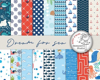 Dream for sea, digital paper, nautical papers, oceans paper, craft paper, planner sticker papers