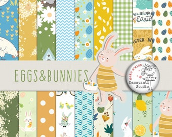 INSTANT DOWNLOAD, Eggs&Bunnies, Easter, Spring, Planner stickers, Craft papers, scrapbook papers