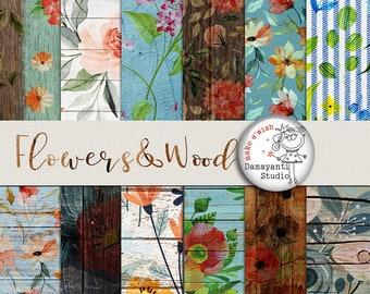 Flowers&Wood digital papers, wood patterns, flowers pattern