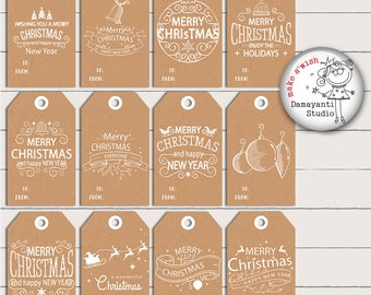 FREE COMMERCIAL USE Christmas Tags, Printable Holiday,  Gift Tags, Christmas Labels, Printable Christmas Gift, Holiday Gift Tags