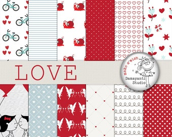 Love papers, Flower papers, Angel Digital Papers, Valentines Day Papers, Valentines Day Pattern, Red papers, Planner Sticker, Couple, LOVE