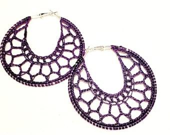 EmPower People Purple Venti crochet earrings 60/70mm