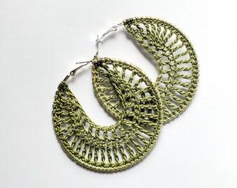 Olive crochet earrings