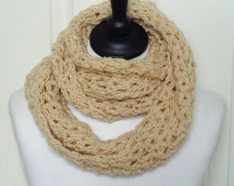 Cream infinity scarf, crochet scarf, cream loop scarf, ladies scarf, gift for her, uk scarves, Fall accessories, Winter scarf, women's scarf