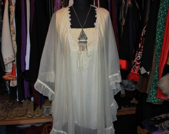 Floating-60's Hippie Boho Cream Chiffon Cape Dress