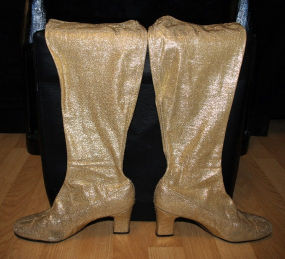 3e36cb0a910 Heart of Gold-60 s Gold Lame Fabric Pull-On Knee High