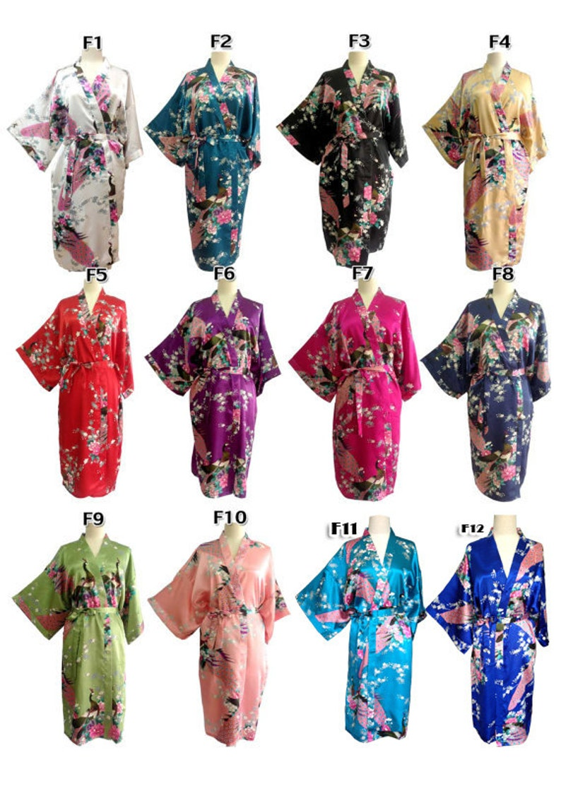 On Sale Set  6  Kimono Robes Bridesmaids Silk Satin Mix Color Paint Peacock Design Pattern Gift Wedding dress Party Free Size ship expedited