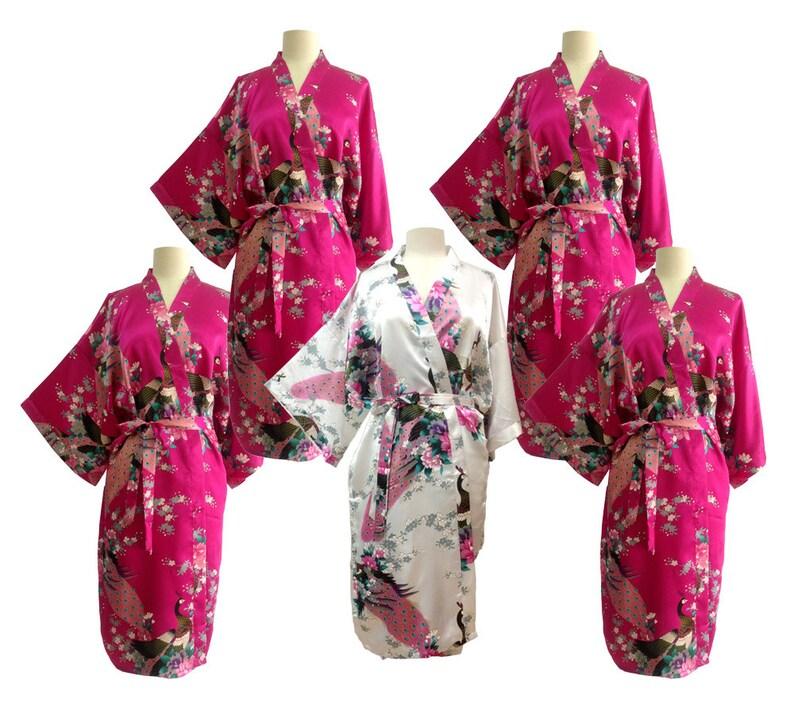 7988b1ff3b30 On Sale Set 5 Kimono Robes Bridesmaids Silk Satin 1 White 4 | Etsy