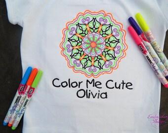 Splat Planet Colour in Unicorn Mandala T-Shirt  6 Non-Toxic Washable Magic Pens